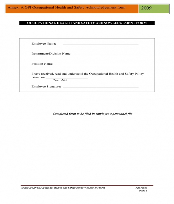 health and safety acknowledgment form