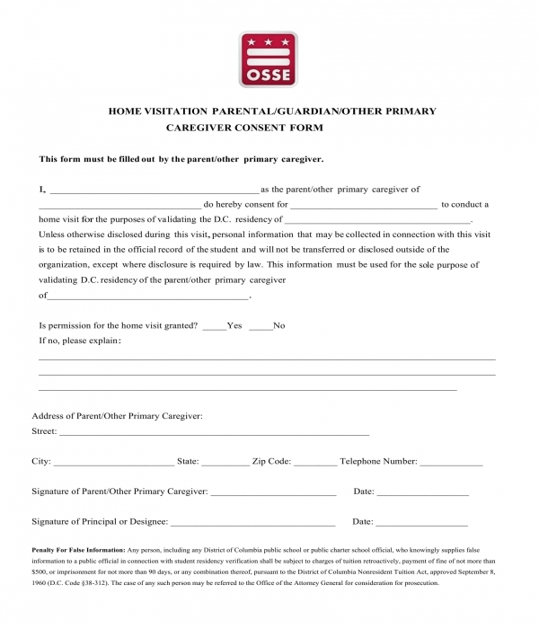 home visitation caregiver consent form