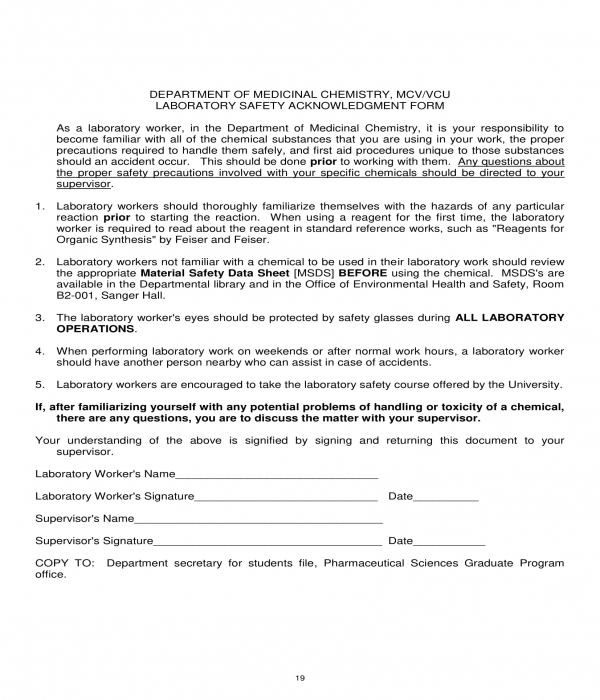 laboratory safety acknowledgment form