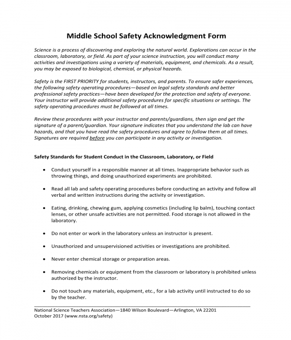 middle school safety acknowledgment form