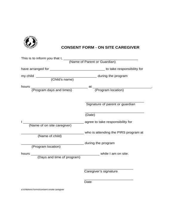 onsite caregiver consent form