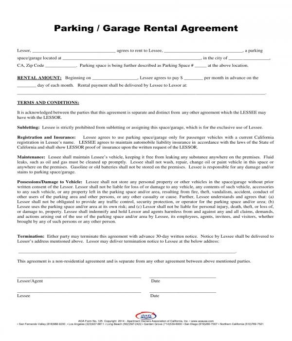 parking garage rental agreement form