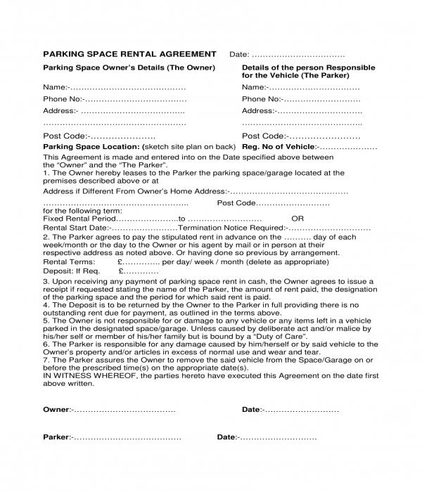 parking space rental agreement form sample