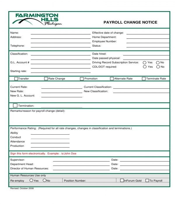 payroll change notice form sample