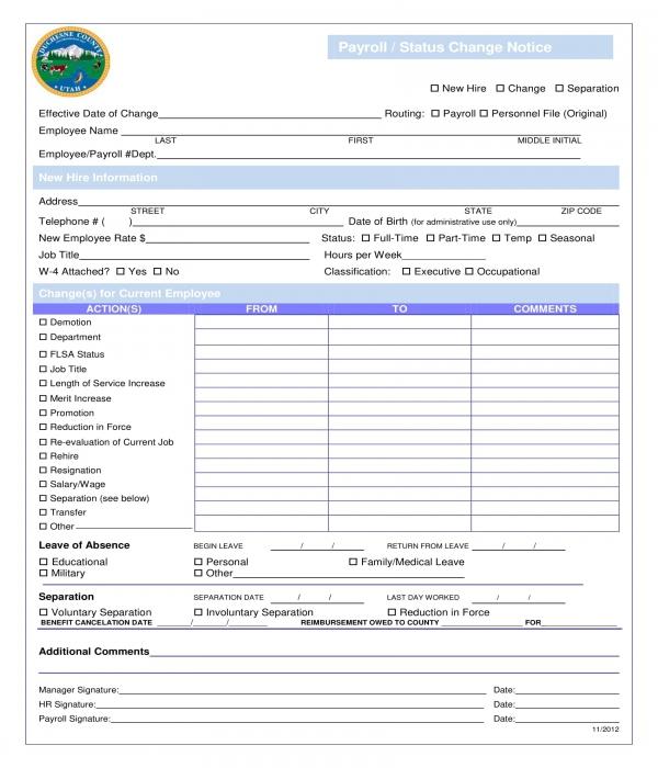 payroll status change notice form
