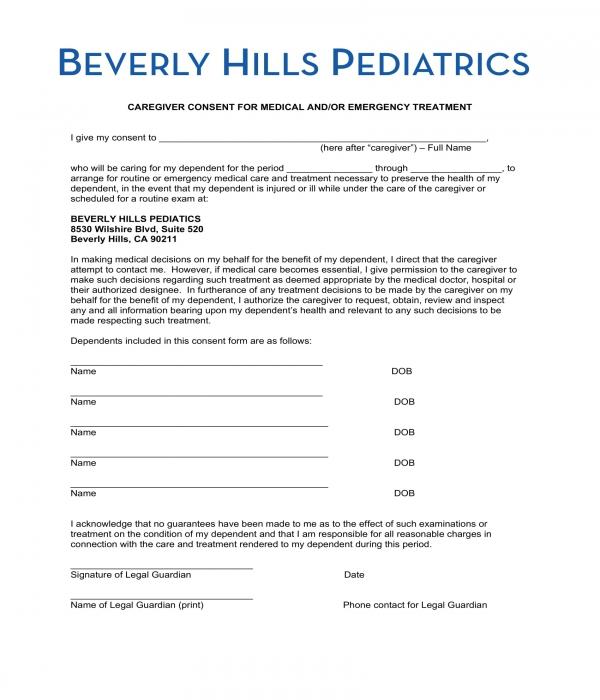 pediatrics caregiver medical consent form