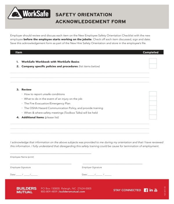 safety orientation acknowledgment form