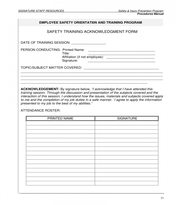 safety training acknowledgment form