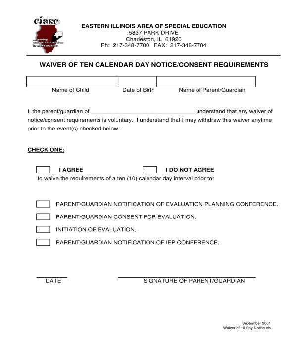 10 day notice waiver form