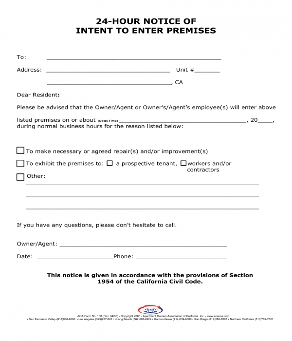 24 hour notice of intent to enter premises form
