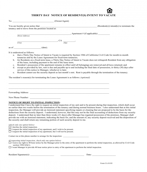 30 day notice of intent to vacate form