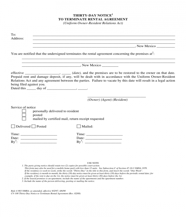 30 day notice to terminate rental agreement form