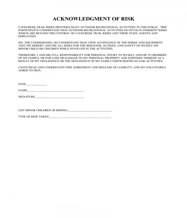 acknowledgment of risk form sample