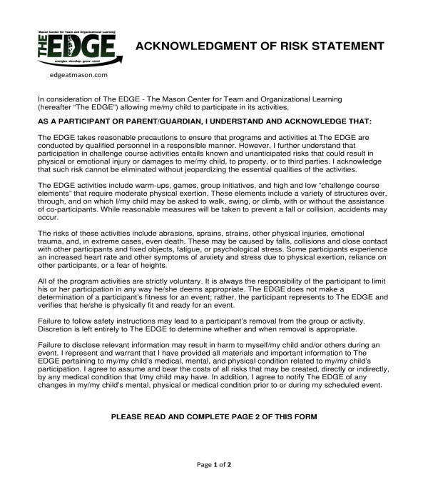 acknowledgment of risk statement form