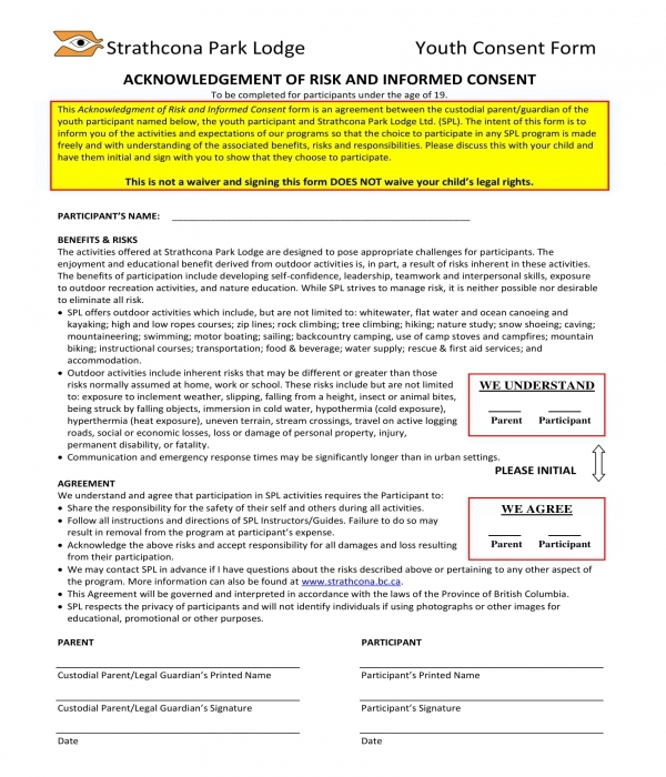 acknowledgment of risk and informed consent form