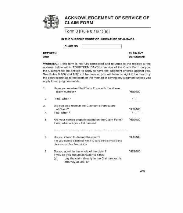 acknowledgment of service of claim form