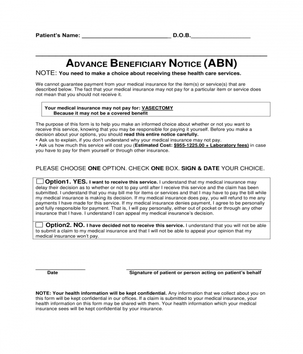 advance beneficiary notice form sample