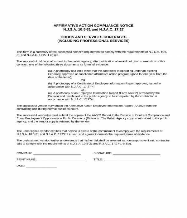 affirmative action compliance notice form