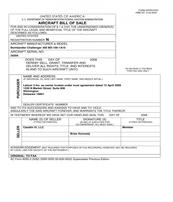 Free 2 Aircraft Bill Of Sale Forms In Pdf Doc