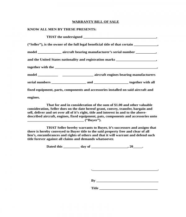 aircraft warranty bill of sale form