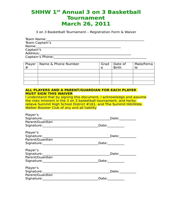 annual basketball tournament registration waiver form
