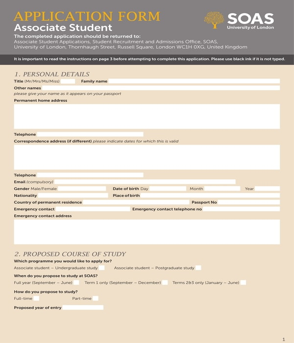 associate student application form