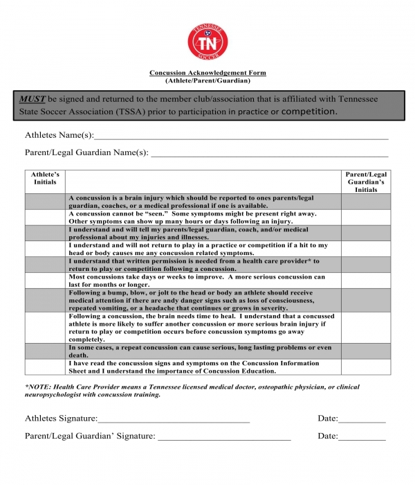 athlete concussion acknowledgment form