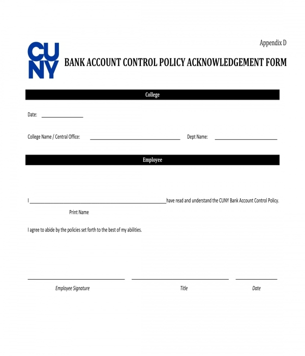 bank account control policy acknowledgment form