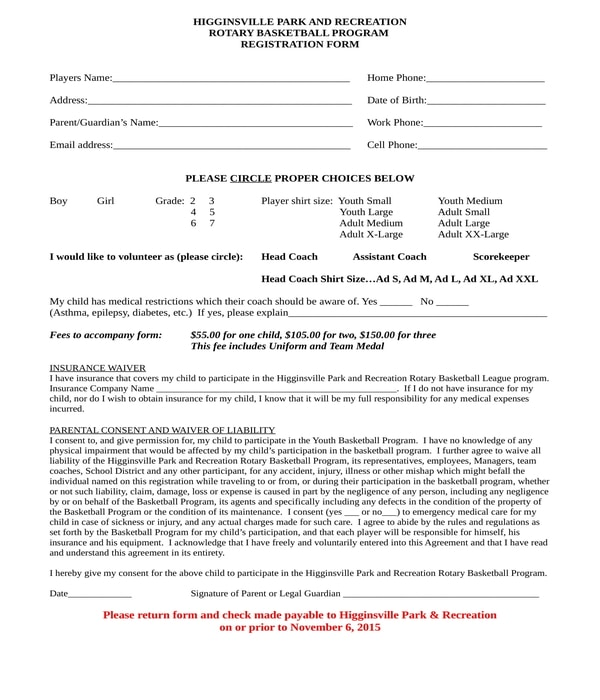 basketball program registration form