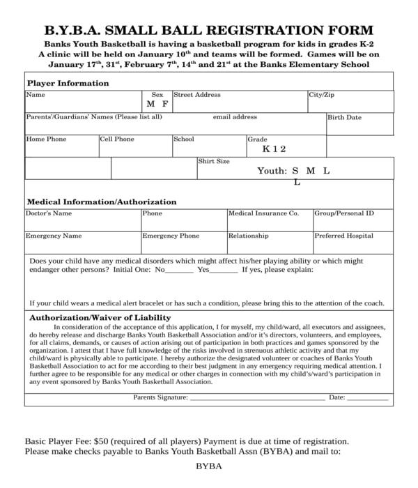 basketball registration form sample