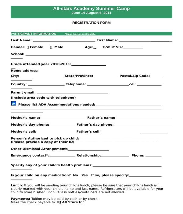 basketball summer camp registration form