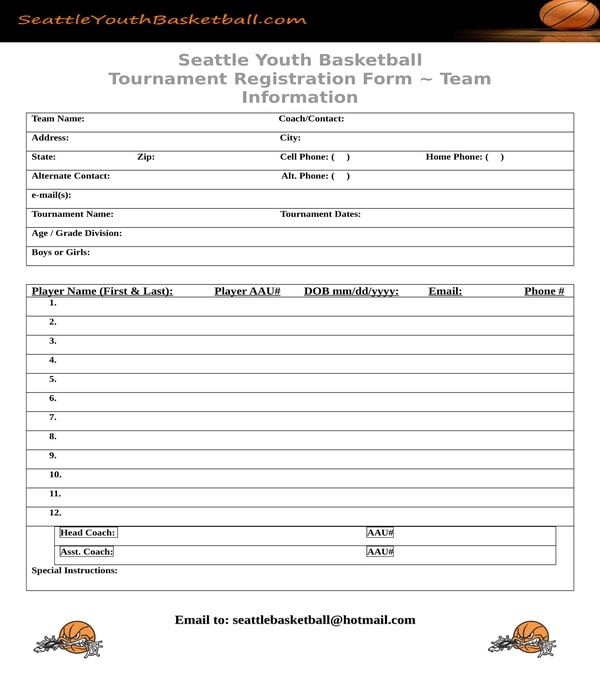 Free 9 Basketball Registration Forms In Word Doc