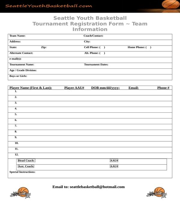 basketball tournament team registration form