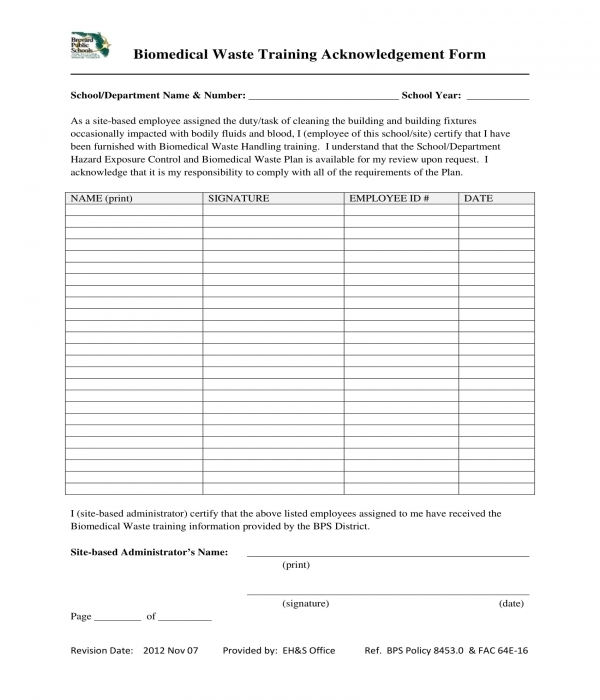 biomedical waste training acknowledgement form