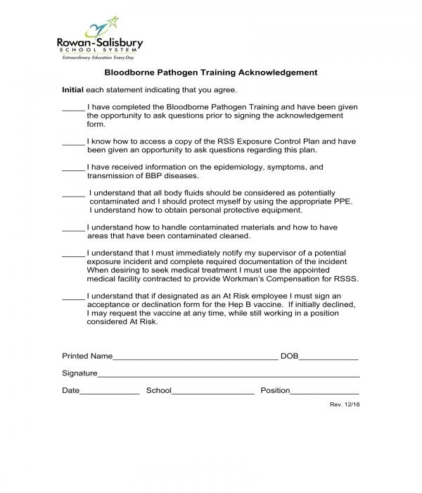 bloodborne pathogen training acknowledgement form