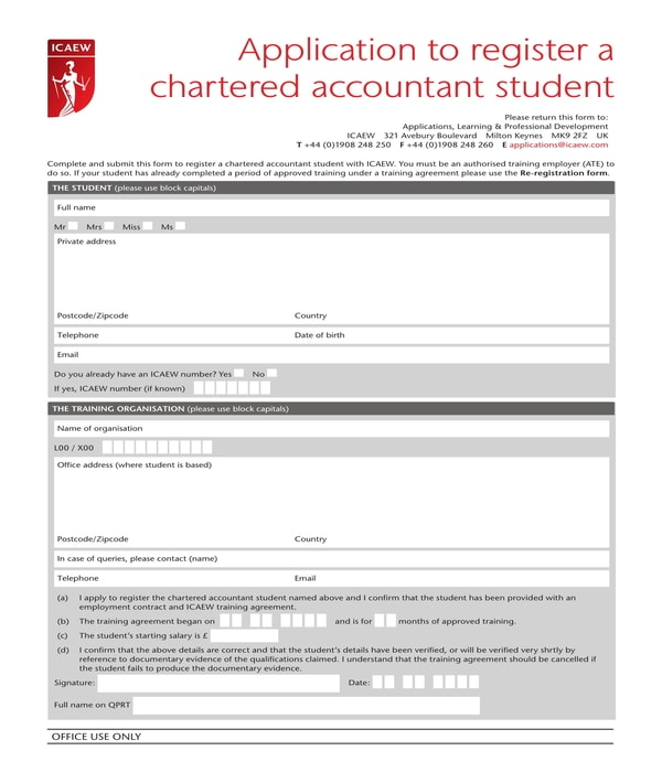 chartered accountant student registration application form