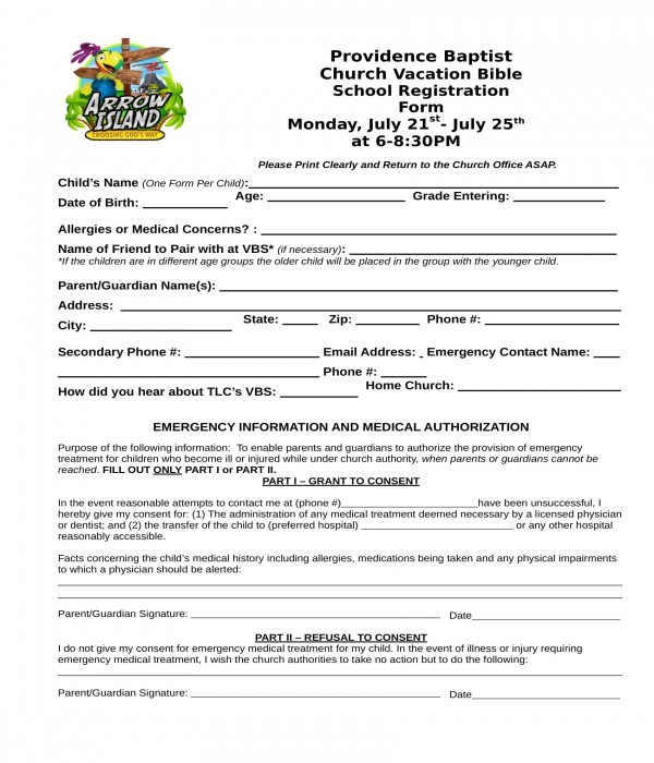 church bible school child registration form
