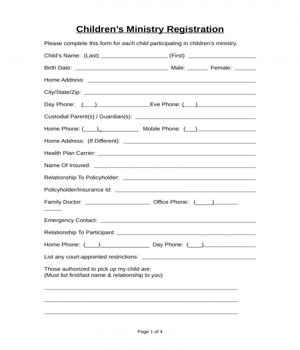 church childrens ministry registration form