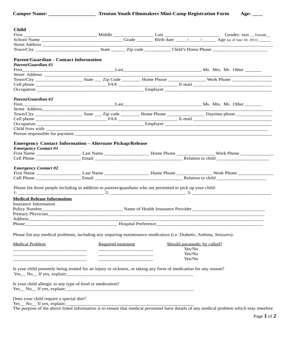 church day camp registration form