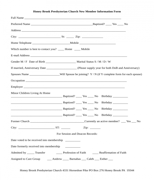 church member information registration form
