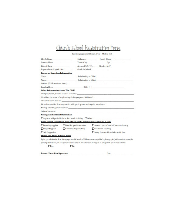 church shool registration form
