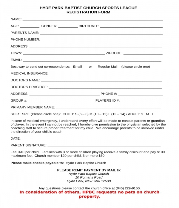 church sports league registration form