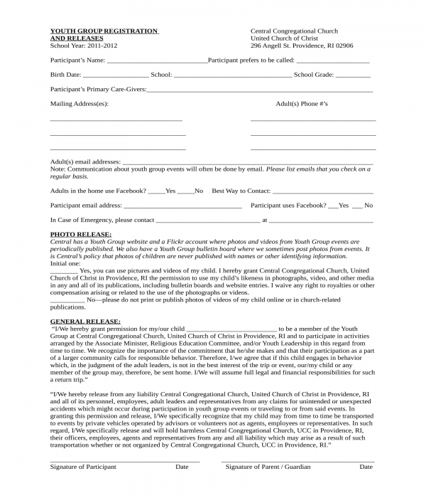 church youth group registration and release form
