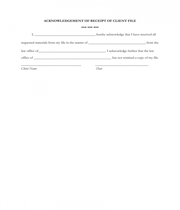client file receipt acknowledgment form