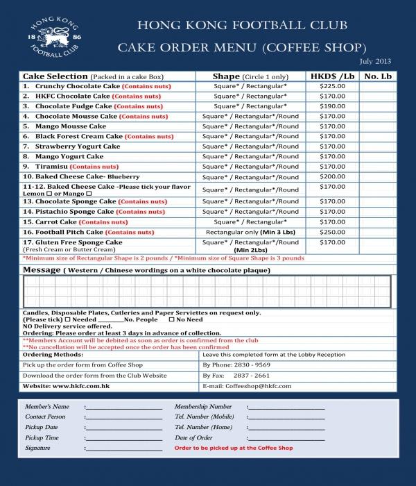 club cake order menu form