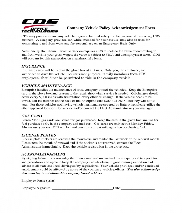 company vehicle policy acknowledgement form