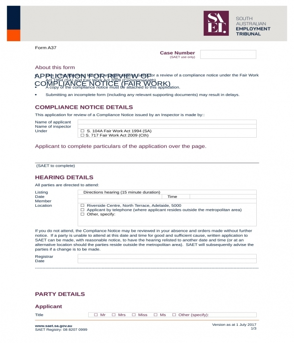compliance notice review application form