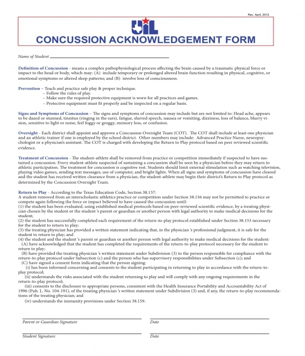 concussion acknowledgment form sample