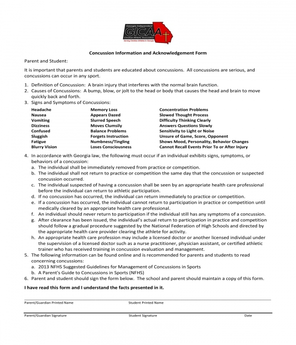 concussion information and acknowledgement form