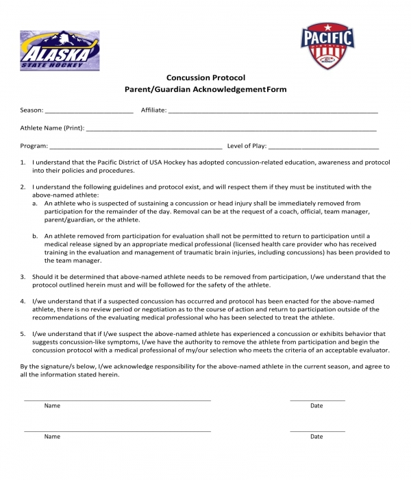concussion protocol acknowledgment form